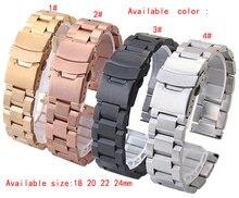 18 мм 20 мм 22 мм 24 мм часы группы серебро роуз черного новых людей замена нержавеющая сталь ремешки ремешок браслеты