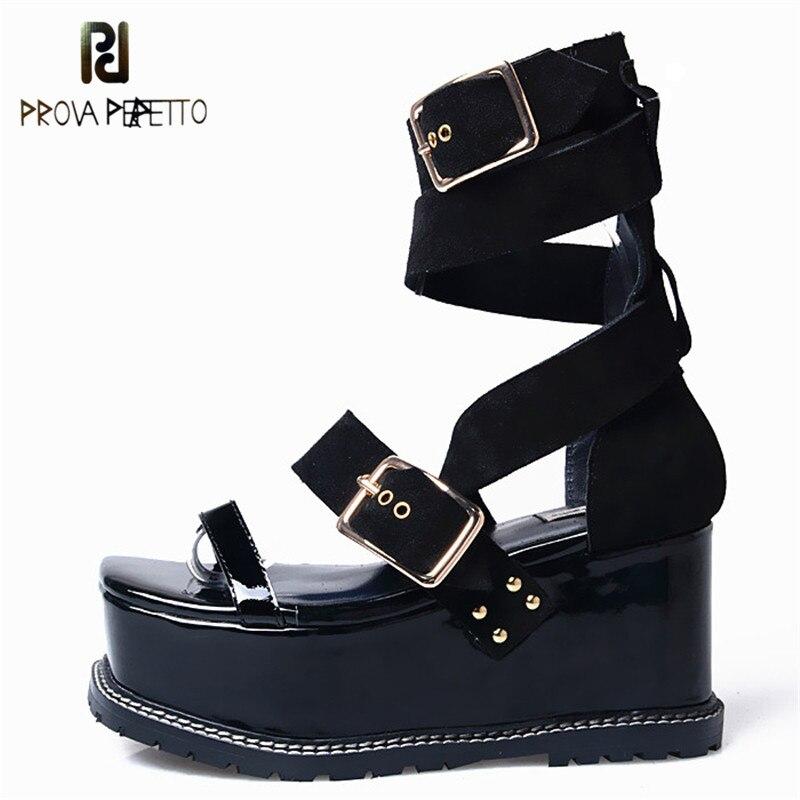 Ayakk.'ten Yüksek Topuklular'de Prova Perfetto 2019 Yeni Varış Kalınlığı Alt Toka Kayış Eğlence Kadın Sandalet Peep Toe Kore Tasarım Yüksek Topuk Ayakkabı'da  Grup 1