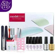 Sexy Mix Full Nail Art Set Professional Nail Art Tool Base Top Coat Nail Gel Polish Sets with 24W SUN9C UV LED Lamp Manicure kit