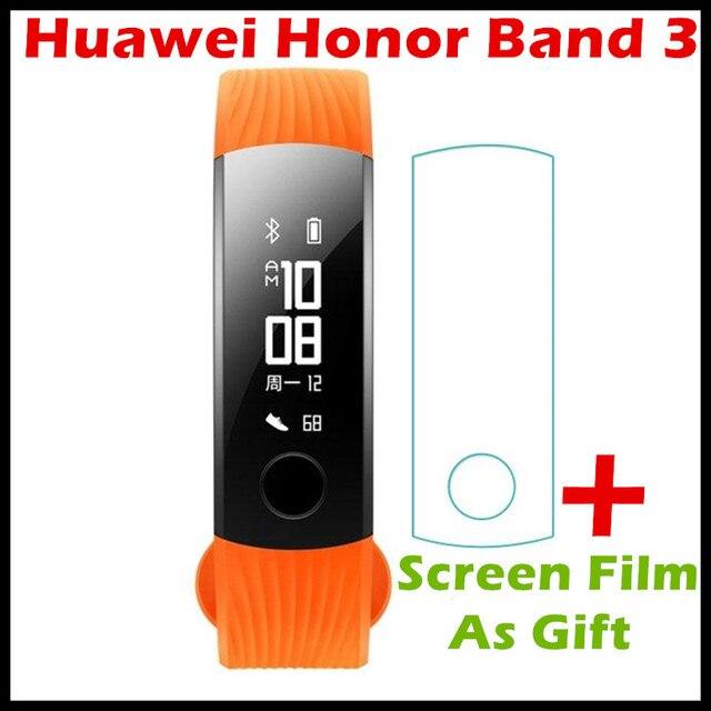"""Оригинальный Huawei честь группы 3 Смарт-браслет для плавания 5ATM 0.91 """"oled Экран Touchpad постоянное сердечного ритма Мониторы нажмите сообщение"""