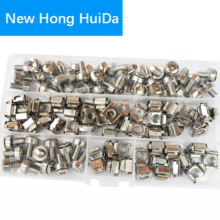 50Set Cage Nuts Bolts Washers Metric Square Hole Hardware Server Rack Screw Mount Clip Nuts Assortment Kit Set M5 ;M6 комплект креплений apc m6 hardware kit пружинные профильные гайки нейлоновые шайбы винты ar8100
