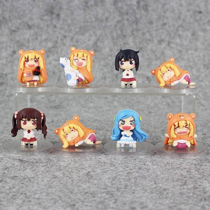 Color bxoed 8pcs/lot Anime Small buried Sankaku Head Himouto! Umaru-chan Umaru Doma PVC Figure Doll toy