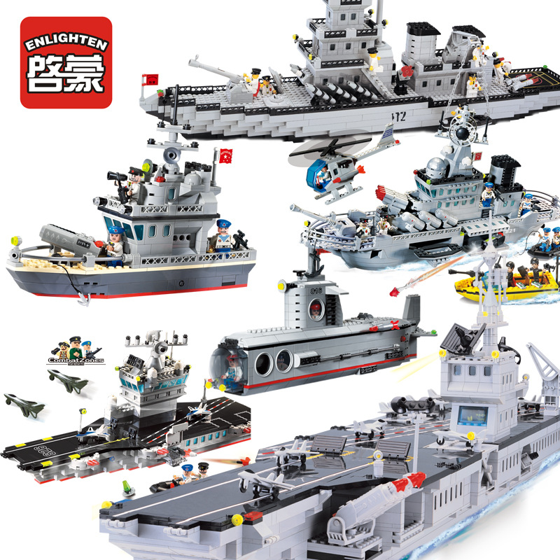 2018 Military Cruiser Submarine Aircrafted Carrier Sets Legoing Building Blocks Ship Boat Weapon Bricks Child Kids Toys Gift
