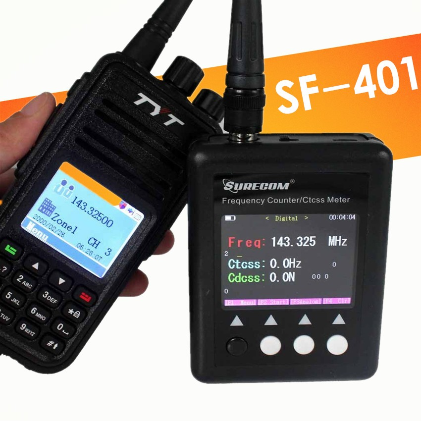 SF-401 Plus Test Range 27MHz-3GHz SURECOM Portable Frequency Counter Meter Scanner CTCSS/DCS Decoder DMR Digital Radio Testable el izi okumali silah kasası