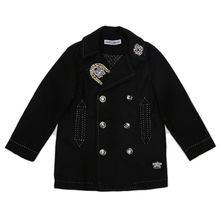 8819e03f7c6ad Chaqueta de moda de la muchacha de moda color negro con destellos empinada  broche