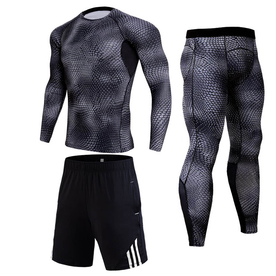 Men's Gym Jogging Suits Set Compressed Sportswear Winter Workout Thermal Underwear Bodybuilding T-Shirt Leggings Crossfit Shorts