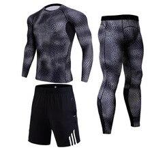 Мужские спортивные костюмы для тренировок в спортивном стиле Зимняя тренировка Термобелье Бодибилдин