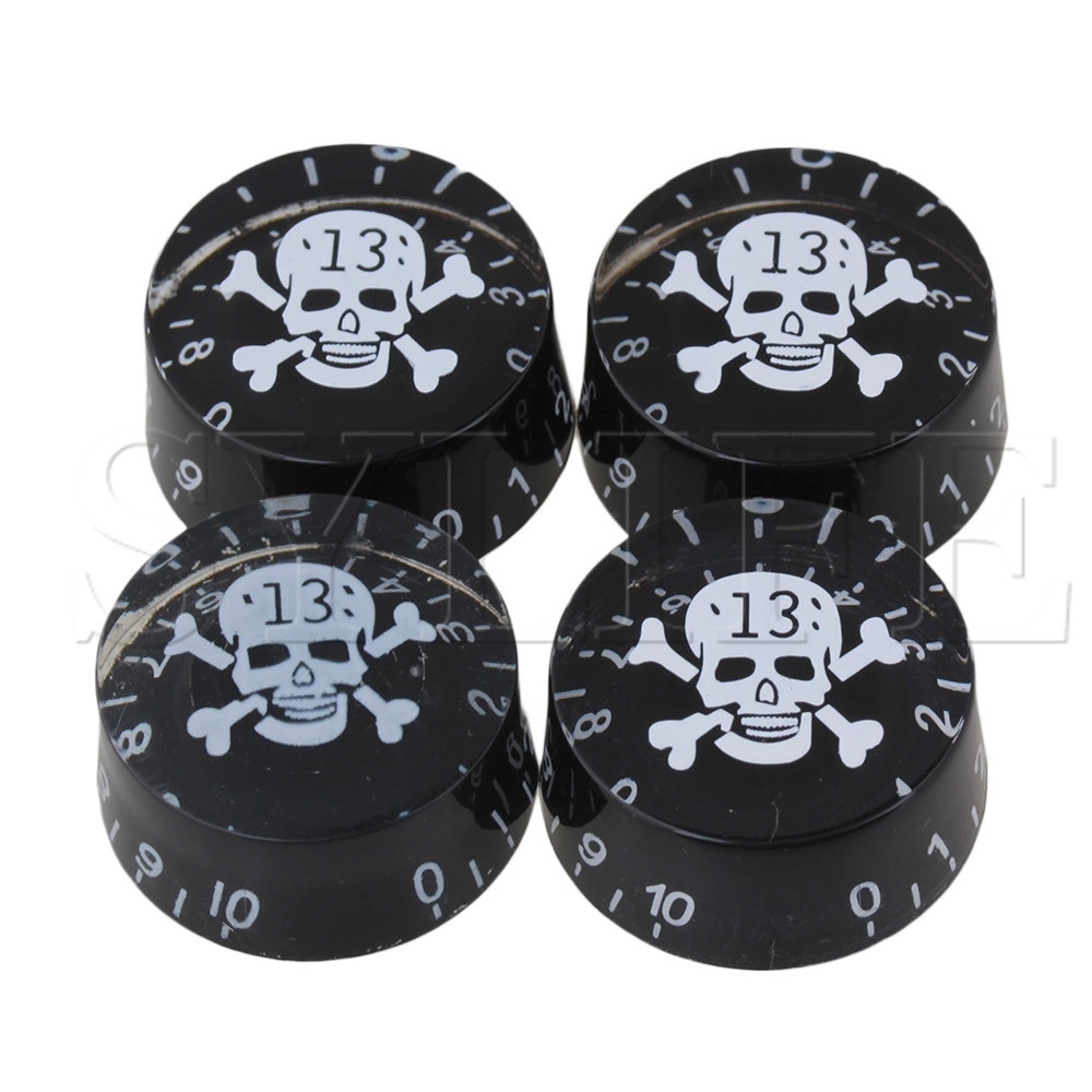 4 X Guitar Speed Knobs W/ SKULL & CROSSBONES LOGO