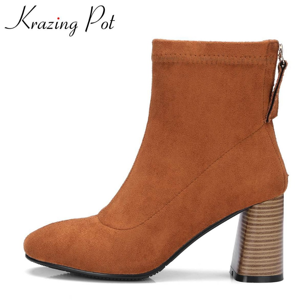 Krazing Pot new arrival round toe thick heel fashion boots flock runway winter shoes slip on superstar women mid-calf boots L2f1 krazing pot big szie cow suede slip on thick heel tassel bowtie winter pointed toe fashion superstar runway ankle boots l5f1