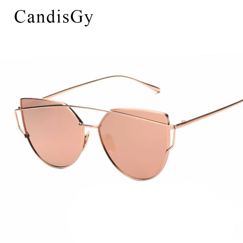 e2f5a814c6 CandisGy Cat eye Women Sunglasses 2016 New Brand Design Mirror Flat Rose  Gold Vintage Cateye Fashion