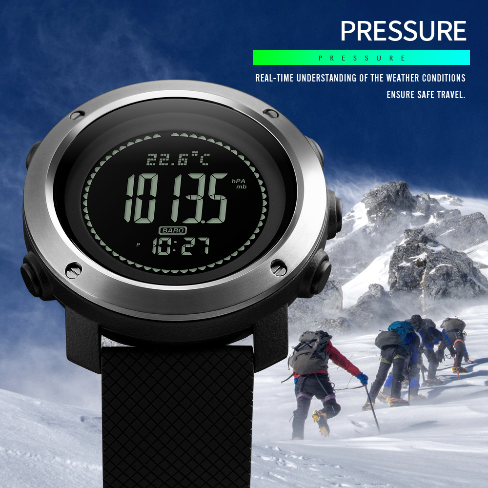 SKMEI Top Luxury Brand Compass Watches Sports Fashion Pedometer Thermometer Altimeter Barometer Calorie Digital Watch Wrist Men outdoor sports watches men skmei brand countdown led men s digital watch altimeter pressure compass thermometer reloj hombre