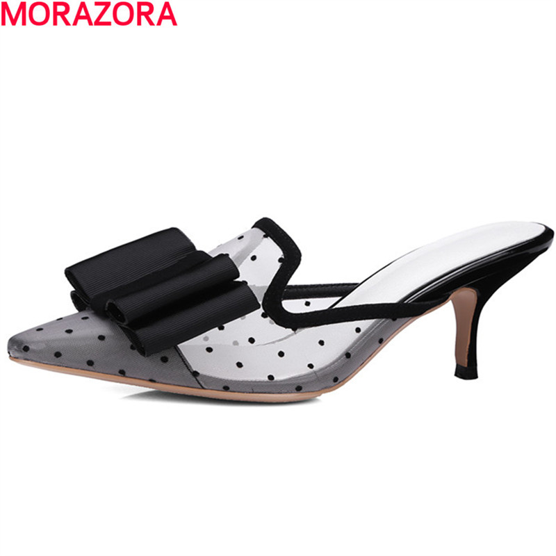 MORAZORA hot sale Large size 34-40 women sandals high heels shoes sweet bowknot summer fashion pointed toe party shoes fashion women shoes woman flats high quality comfortable pointed toe rubber women sweet flats hot sale shoes size 35 40