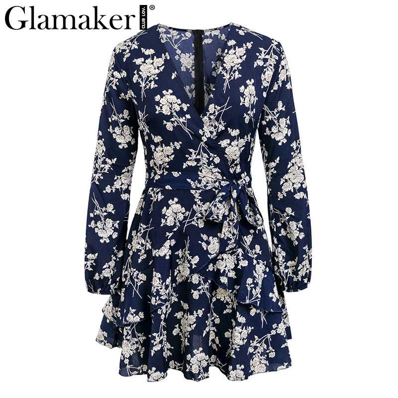 Glamaker floral Dress ... Glamaker Ruffle floral black chiffon summer dress Women v neck long  sleeve sexy dress Female transparent ...