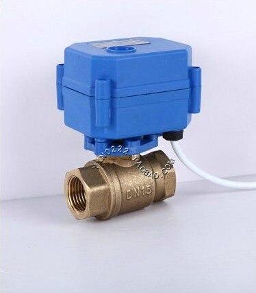 15PCS/SET Motorized Ball Valve 1/2 DC3-6V DN15 ,CR-02,CR-5 Wires,Brass Electric ,