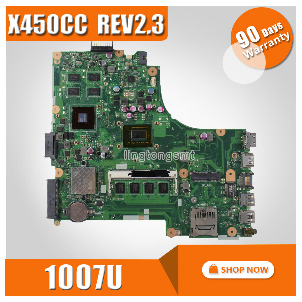 for ASUS X450CC motherboard X450CC REV2.3 Mainboard Processor 1007u GeForce GT 720M 100% tested ipc motherboard sbc81206 rev a3 rc 100