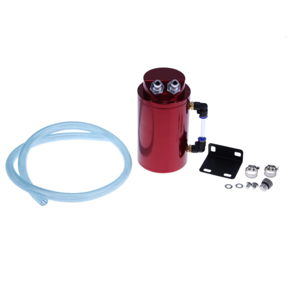 Universal Red Aluminum Alloy Cylinder Shaped 10mm/15mm Engine Oil Catch Tank Can Reservior Auto Car Replacement Accessories