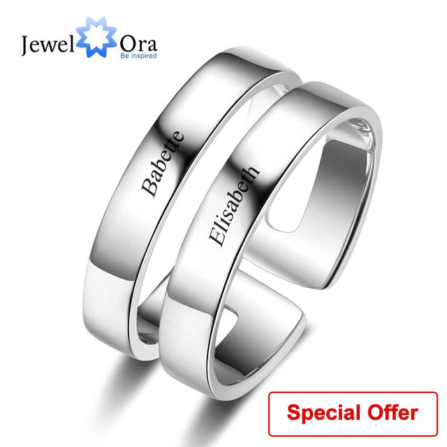 Personalized Gift For Her Engrave 2 Names Promise Rings For Women 925 Sterling S