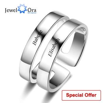 b34c734c960b Regalo personalizado para su grabado 2 nombres anillos de promesa para  mujeres 925 joyería de aniversario de plata esterlina (joyería RI103289)