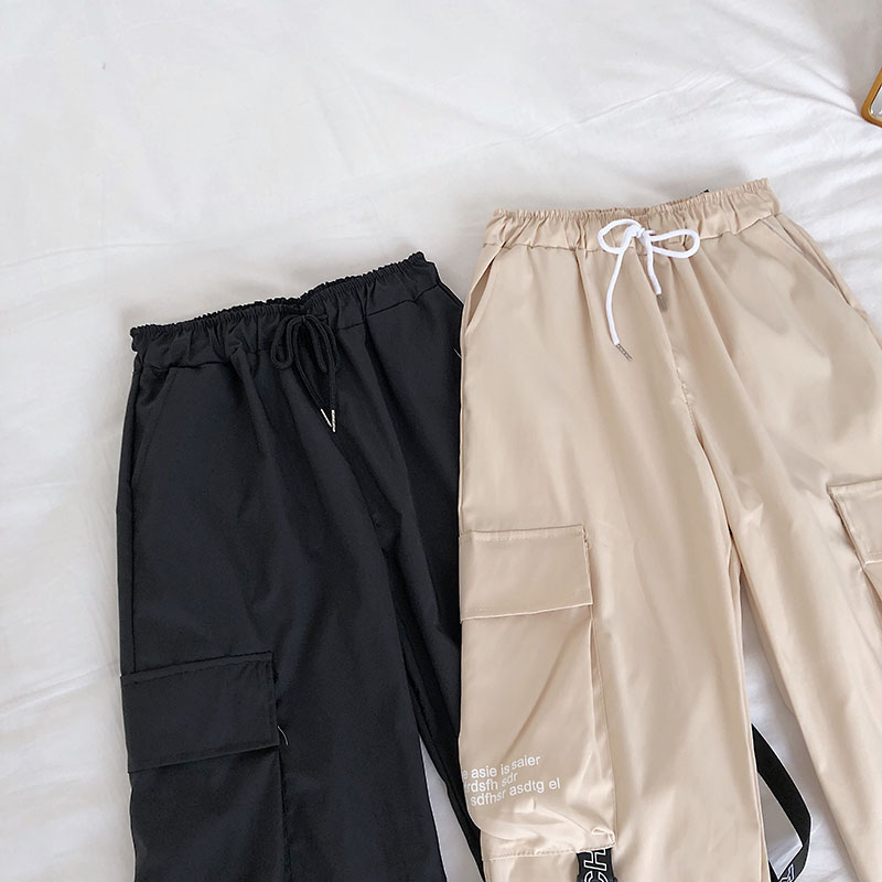 HTB1G18gbEY1gK0jSZFCq6AwqXXa2 - Neploe Hip Hop Streetwear Women Cargo Pants High Waist Pockets Ribbon Trousers Female Loose All Match New Fashion 90230