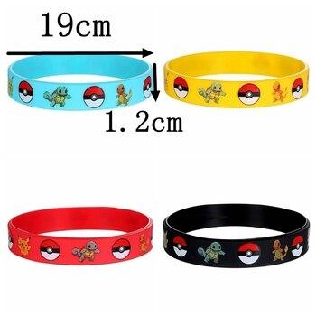 40pcs New Trendy Charms Game Wristband Pokemon Pikachu Silicone Bracelet Cartoon Bangles Kids Birthday Party Decoration Gift Toy