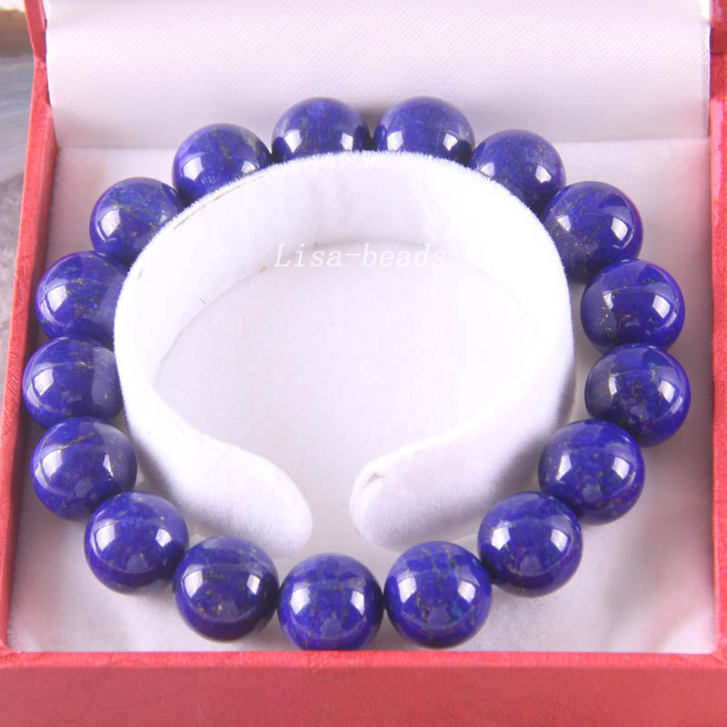 Free Shipping Fine Jewelry Stretch Blue 12MM Round Beads 100% Natural AA Genuine Lapis Lazuli Bracelet 8 with Box 1Pcs J022