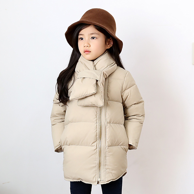 long padded warm winter coats for kids with scarf parka toddler winter coats girls black beige thick autumn teenage outwear 2018 fashionable black fringed winter scarf for men