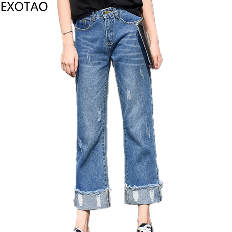 EXOTAO High Waist Women Jeans Ripped Denim Pants Washed Vintage Pantalon Femme Pocket Jean Mujer 2017 Autumn New Casual Trouser high waist ripped jeans women jumpsuit 2017 new fashion denim overalls pants casual vintage straight pants jeans femme plus size