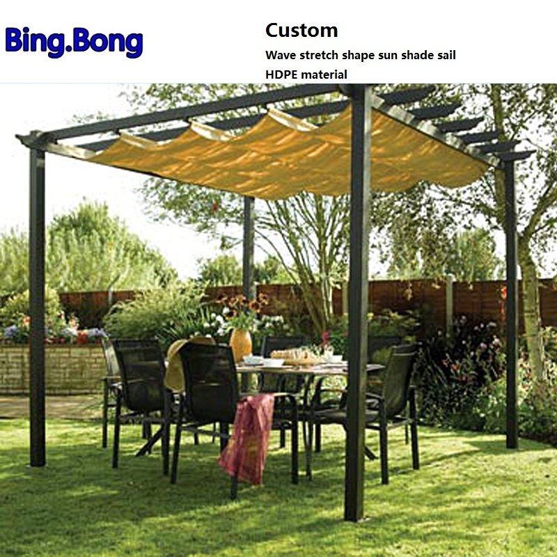 Custom Wave stretch shape sun shade sail HDPE material shading hang curtain Sunshade Gazebos canopy curtains sun screen awnings-in Gazebos from Home ... & Custom Wave stretch shape sun shade sail HDPE material shading ...