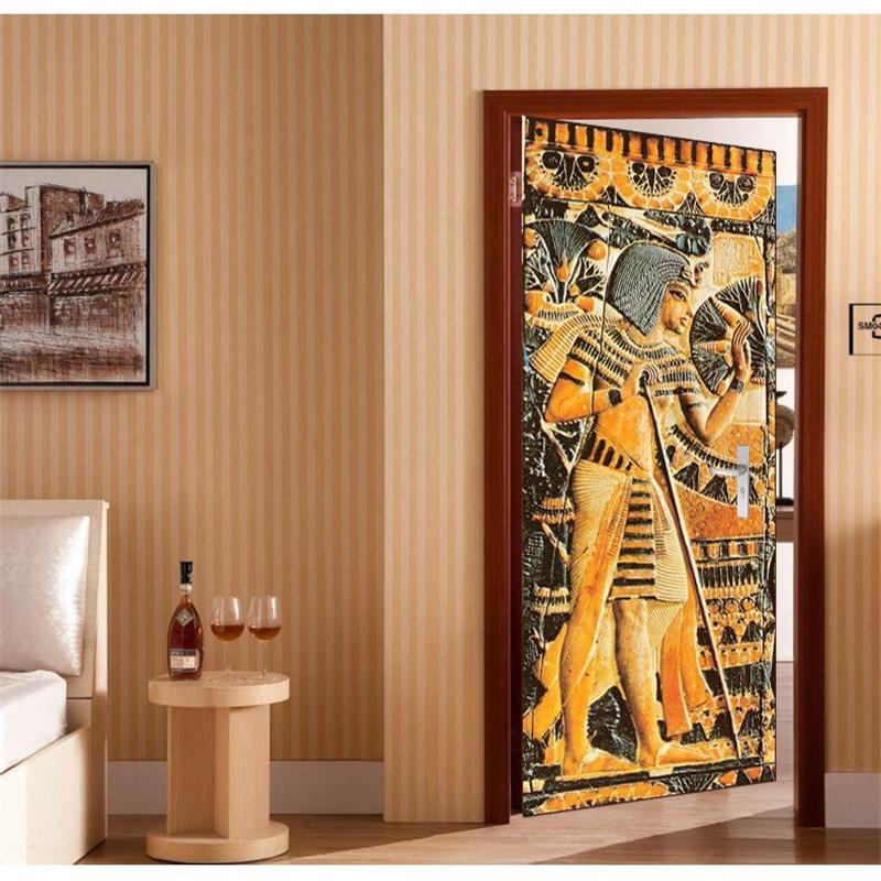 Aliexpress 3d Wallpaper Door Wallpaper Egyptian Pharaoh Murals Wallpaper