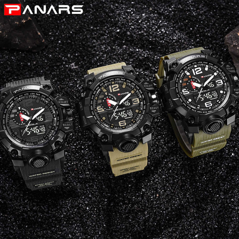 Panars relógios masculinos moderno relógio digital led analógico eletrônico relógios de quartzo 50 m à prova dwaterproof água esporte mão relógio homem com bússola