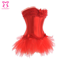 New women shapers body bustiers Gothic Clothing Sexy Overbust Waist trainer corsets +  Mini TuTu Skirt Sexy corset Dress