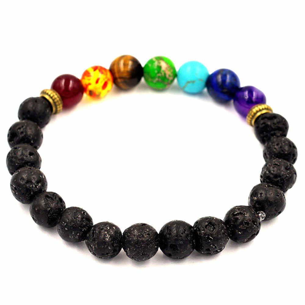 Offre spéciale alliage pierre volcanique 7 Chakra Bracelets Yoga Balance perles bouddha prière Bracelet élastique femmes hommes livraison directe 604Z