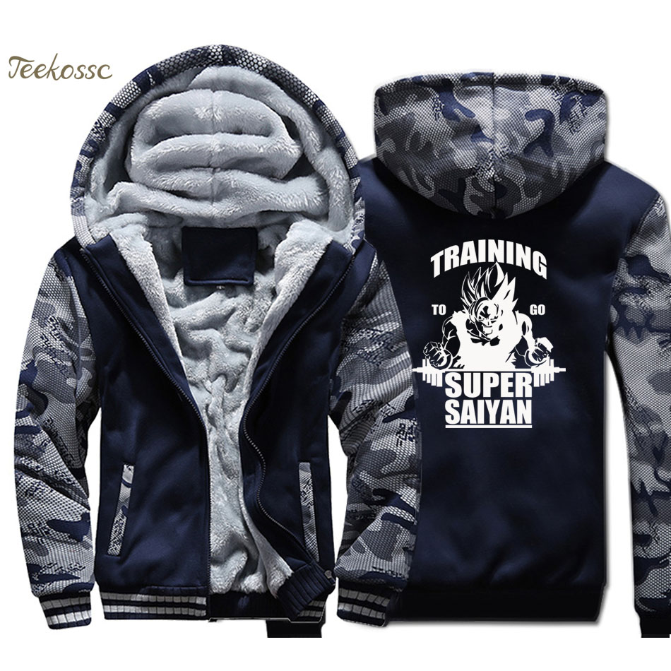 Super Saiyan Training Hoodie Men Dragon Ball Hooded Sweatshirt Japan Anime Coat 2018 Winter Thick Fleece Warm Camouflage Jacket
