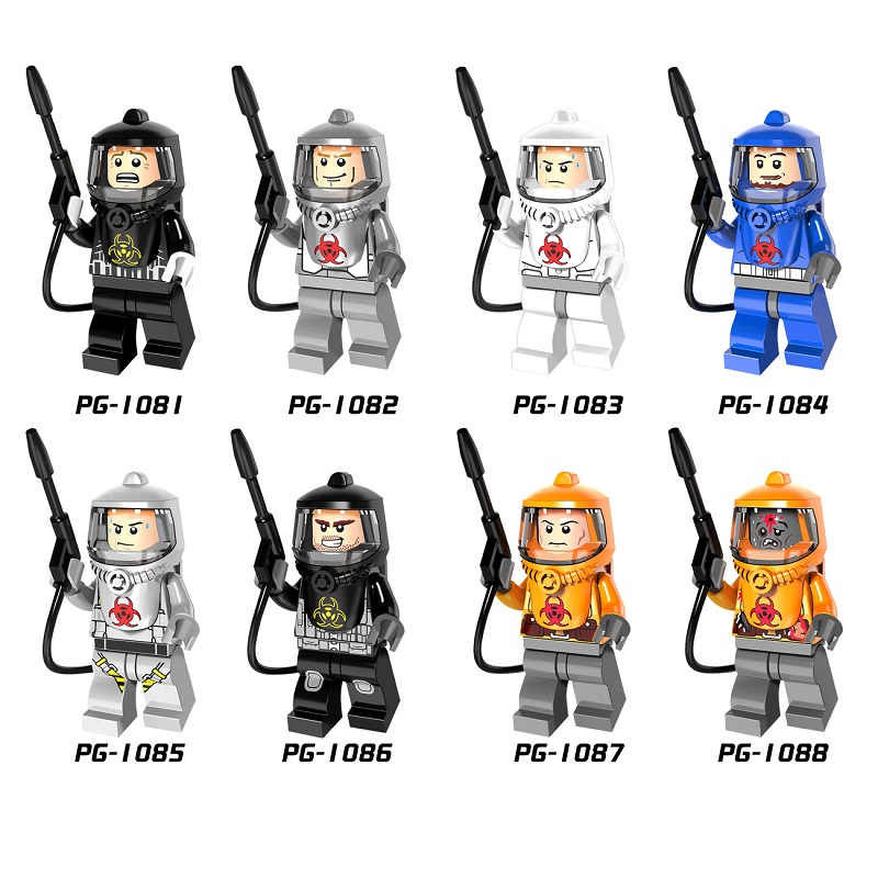 Single Sale Fire-fighting Legoingly Anti-Chemical Clothers PG8081 Figure Human Zombie Building Blocks Bricks Model Kits Toys