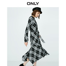 ONLY V-neckline Checked Print Lace-up Irregular Hemline Long-sleeved Dress | 118307544(China)