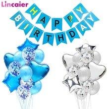 Синий баннер с днем рождения, воздушные шары, украшения для маленьких мальчиков и детей, праздничные принадлежности для взрослых, гирлянда, сувениры, первый 1, 2, 3, 4, 5, 6, 7, 8, 9, 10