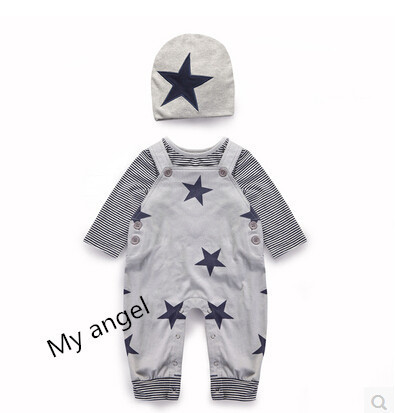 Retail 2015 New  infant clothing baby boy overall 3pcs( hat+ overall+ Long-sleeved T -shirt  )baby t-shirt pant suit