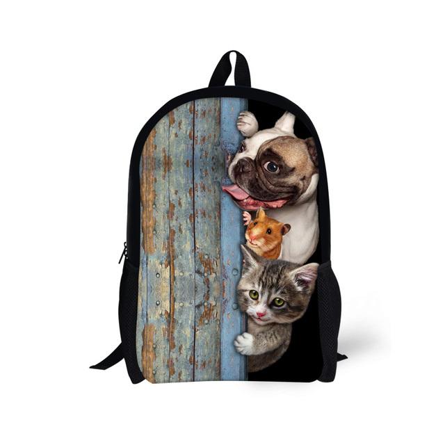 Primera marca 3d pet dog cat impreso bolso de escuela para niñas niños mochilas niñas niños mochila mochila