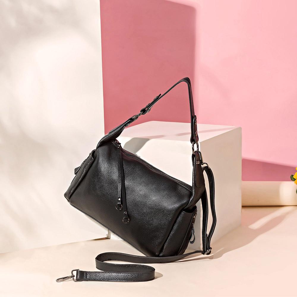 Zency Hobos ขนาดเล็ก 100% ของแท้หนังผู้หญิงไหล่กระเป๋า Charm สีม่วงกระเป๋าถือแฟชั่น Crossbody สีดำกระเป๋า-ใน กระเป๋าสะพายไหล่ จาก สัมภาระและกระเป๋า บน   2