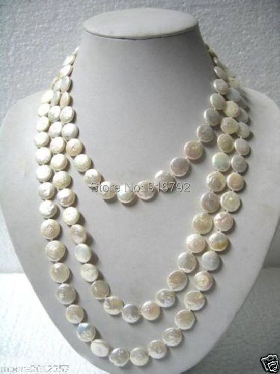 free P&P >>Beautiful 11-12mm White Coin Pearl Long Necklace 60 недорго, оригинальная цена
