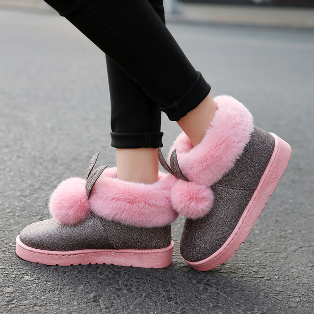 2018 Winter New Women Ankle Boots Rabbit Ears Cute Boots Waterproof and Velvet Thick Warm Cotton Shoes Booties Flat Shoes