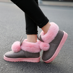 Image 2 - 2019 Inverno Nuovi Stivali Caviglia Donne Orecchie di Coniglio Carino Stivali Impermeabili e Velluto di Spessore Scarpe di Cotone Caldi Stivaletti Scarpe Basse