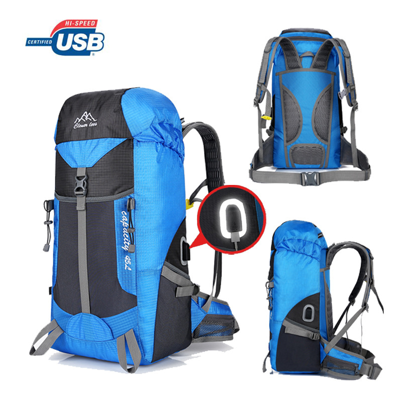 50L Usb Charging Unisex Men Backpack Travel Pack Sport Bag Pack Outdoor Mountaineering Hiking Climbing Camping Backpack For Male