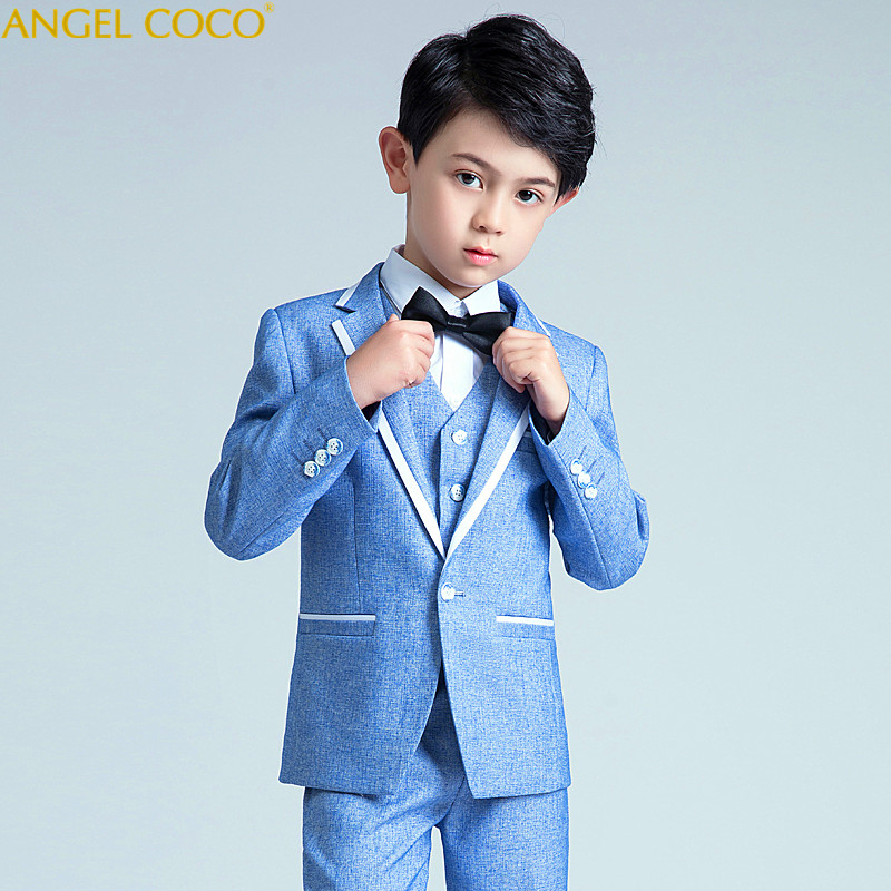 3 Piece Children'S Small Suit Handsome Baby Suit Flower Girl Dress Male Korean Version Of The Show Stage Studio Shooting Clothes 2018 spring new style korean version of the white suit of the boy children s small suit flower girl dress boy presided over