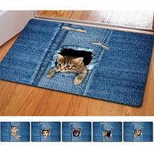 все цены на Cute Cat Floor Mat Washable Denim Cat Rug Bath Mats Foot Pad Home Decor Non-Slip Kitchen Bathroom Living Room Mats