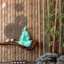 3D solid Chinese imitation wood grain wallpaper natural eco-friendly vintage plank ceiling attic tea-house study