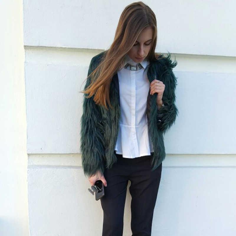 2018 женский, черный пушистый пальто из искусственного меха куртки белый Искусственный мех пальто Для женщин зимнее теплое пальто женские Верхняя одежда PC111