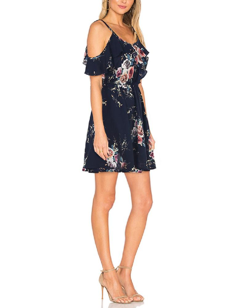 2019 New Yfashion Women Summer Sexy Floral Printed Dress Slim Backless Sling Lace Dress Top Selling in Dresses from Women 39 s Clothing