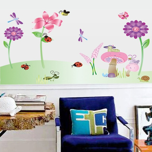 Vlinder Decoratie Babykamer.Vlinder Paddestoelen Zonnebloemen Libellen Muurtattoo Thuis Sticker