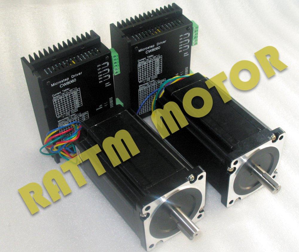 2axis nema 34 cnc stepper motor 154mm 1600oz in 5 0a for Nema 34 stepper motor driver